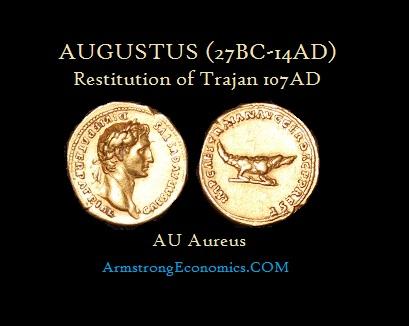 Augustus by Trajan Restitution Gold Aureus - r