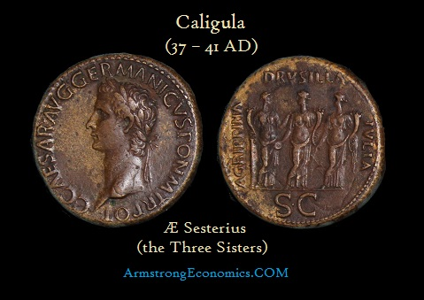 Caligula AE Sesterius three sisters - R