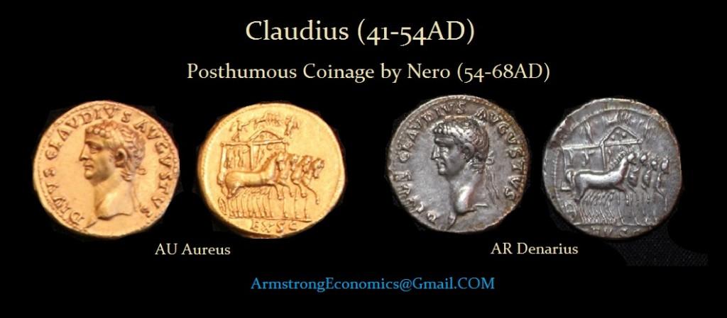 Claudius by Nero Aureus Denarius
