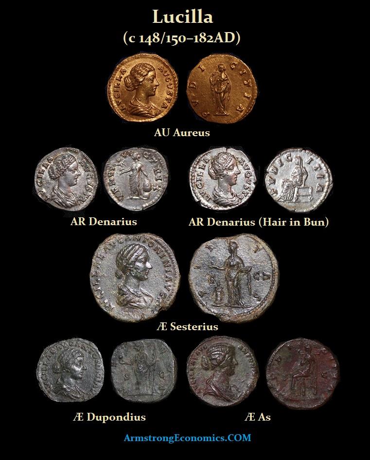 Lucilla Aureus Denarius Sesterius Dupondius As