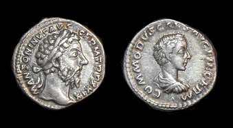 MARCUS AURELIUS - COMMODUS AR DENARIUS - R