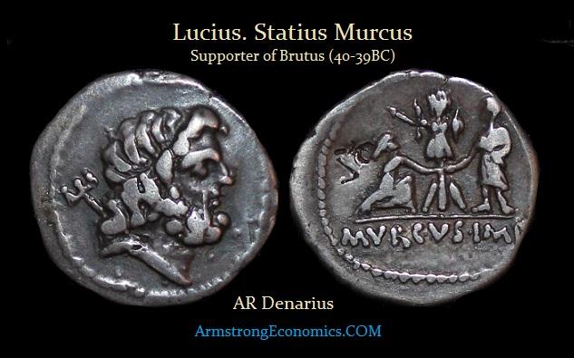 MURCUS  AR denarius (supported Brutus) AR Denarius - R