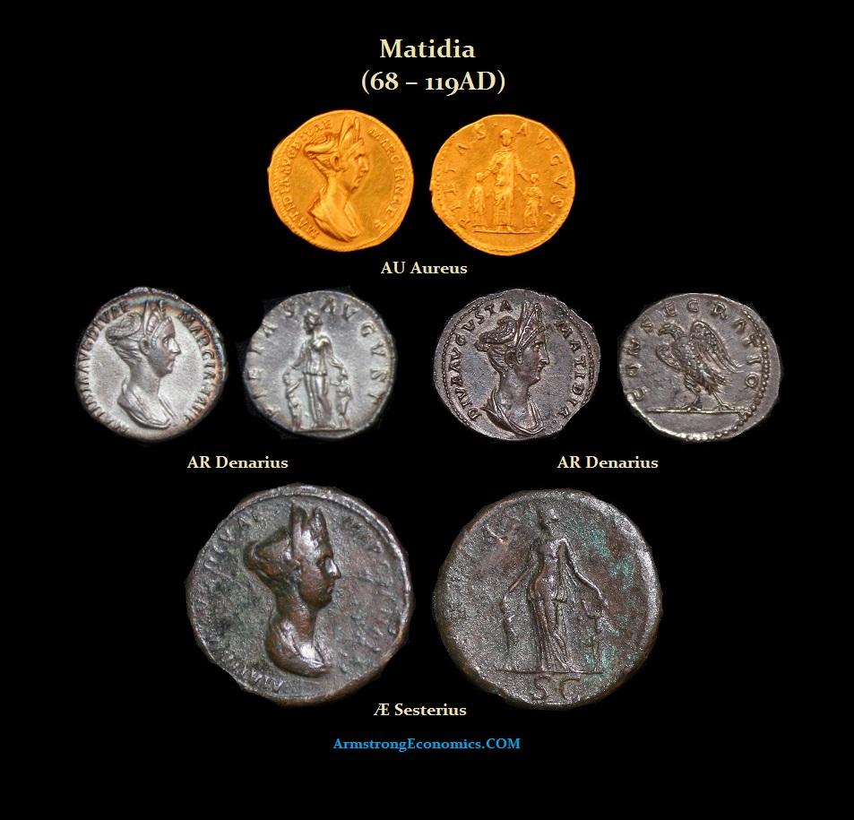 Matidia Aureus Denarius Sesterius