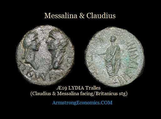 Messalina & Claudius Æ19 LYDIA Tralles RPC2654