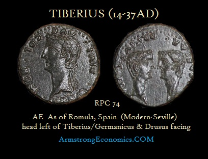 TIBERIUS AE AS SPAIN Romula RPC74 Germanicus Drusus facing - R