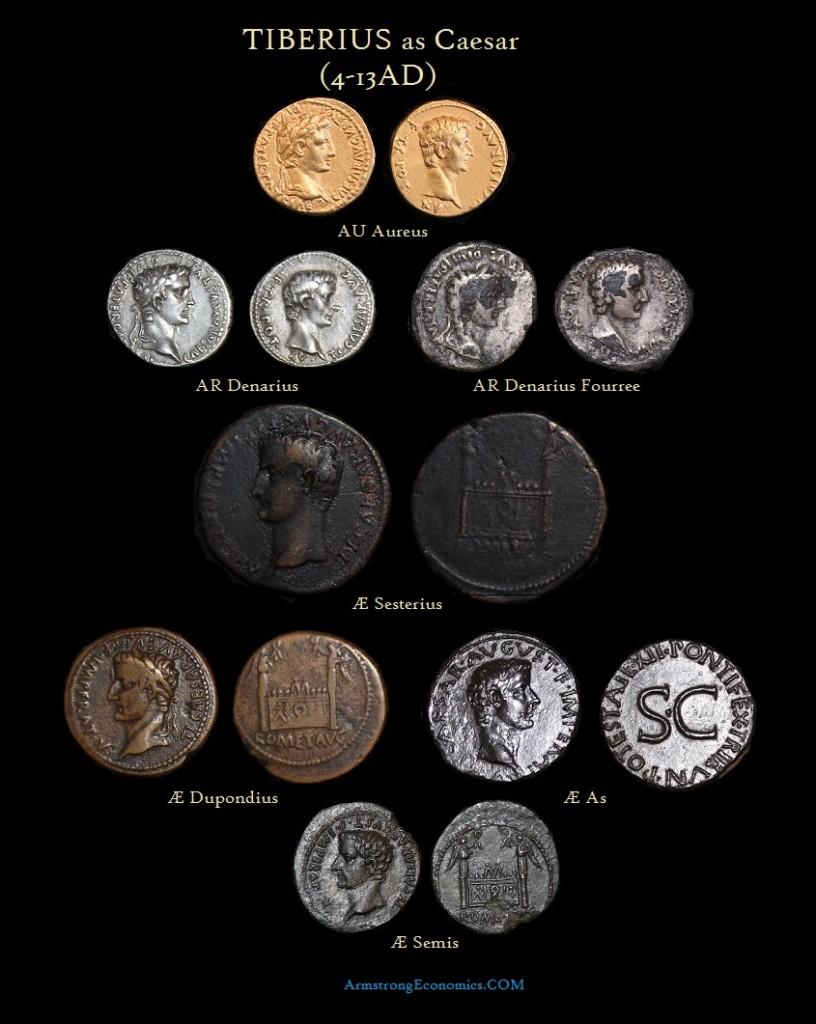 Tiberius Caesar Aureus Denarius Fourree Sesterius Dupondius As Semis