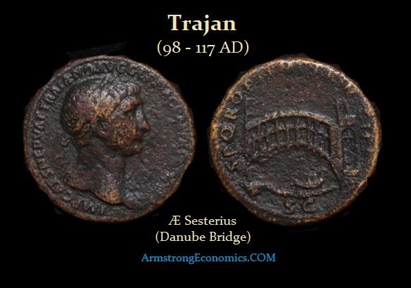 Trajan AE Sesterius Danube Bridge