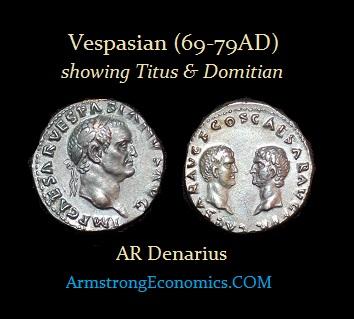 Vespasian AR Denarius with Titus and Domitian