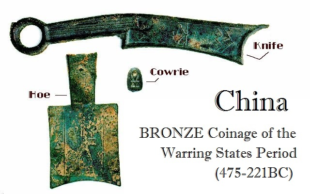 CHINA Waring States Coinage Hoes, Knifes