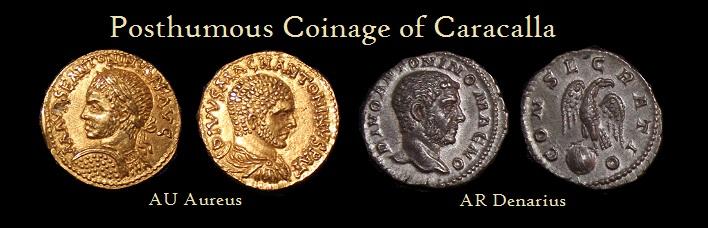 Caracalla-Divo Denominations by Elagabalus - Aureus Denarius