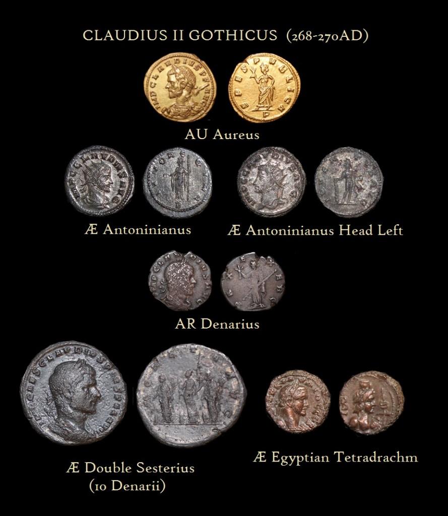 Claudius II Aureus Antoninianus Denarius Double Sesterius Egypt tetradrachm Denominations