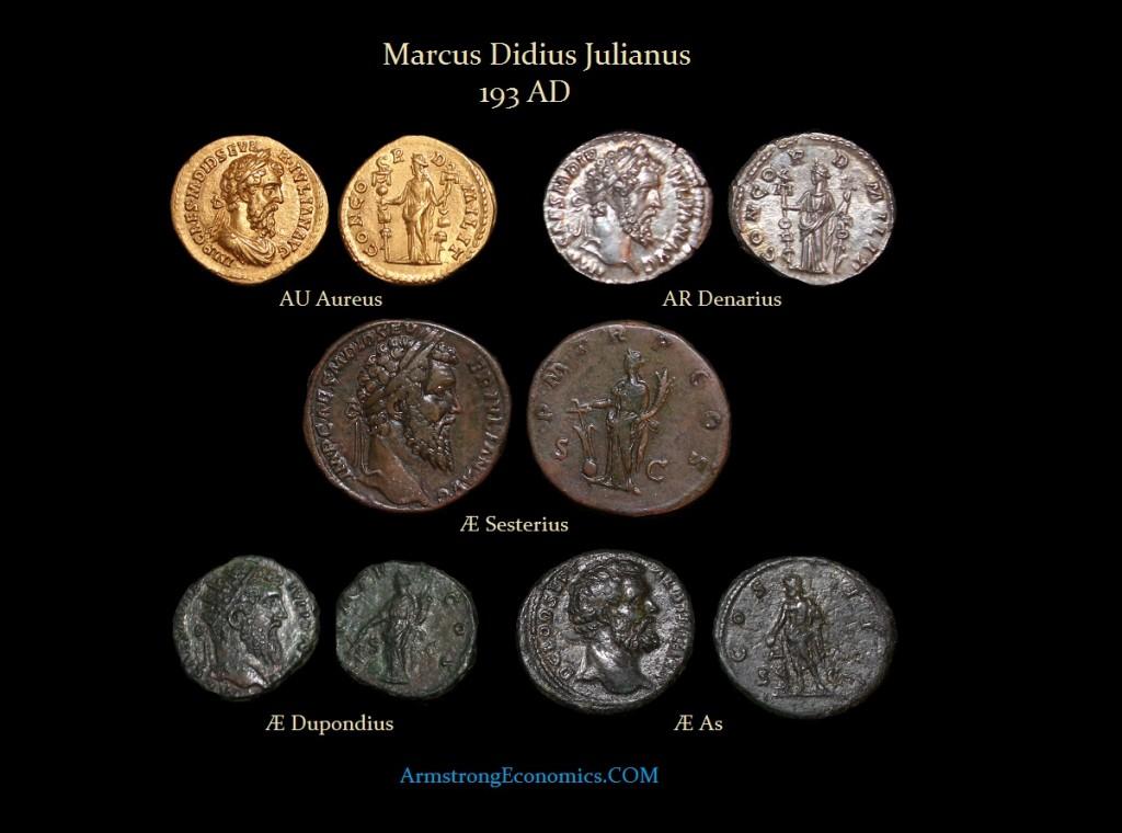 Didia-Julianus Aureus Denarius Sesterius Dupondius As