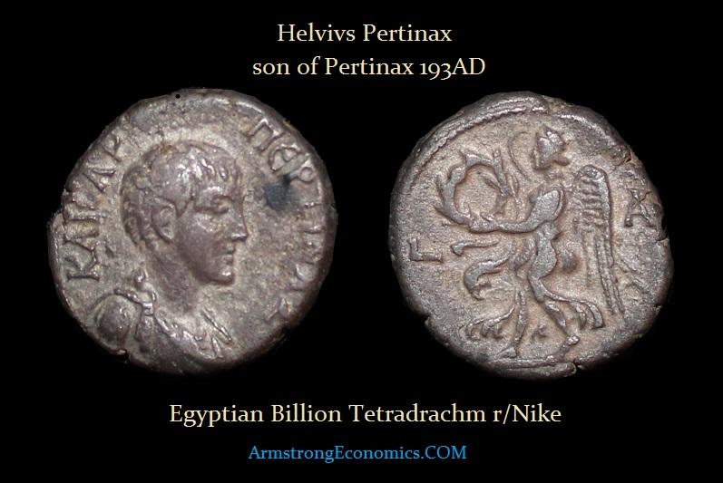HELVIVS PERTINAX EGYPT TETRADRACHM - R