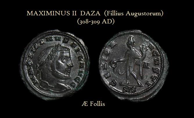 MAXIMINUS II (Fillius Augustorum) AE FOLLIS