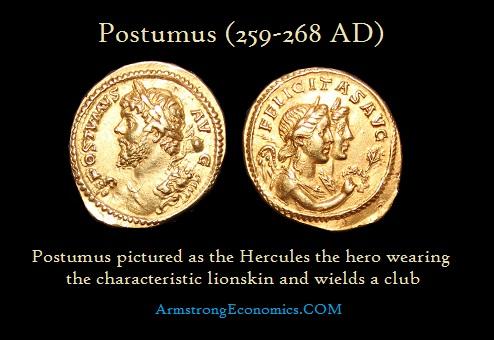 Postumus AU Aureus as Hercules - R