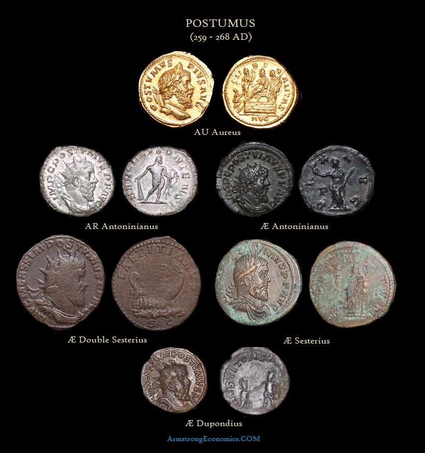 Postumus Main DENOMINATIONS Aureus Antoninianus Double Sesterius Sesterius Dupondius- R