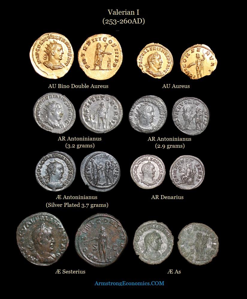 Valerian I Double Aureus Bino Aureus Antoninianus Denarius Sesterius As