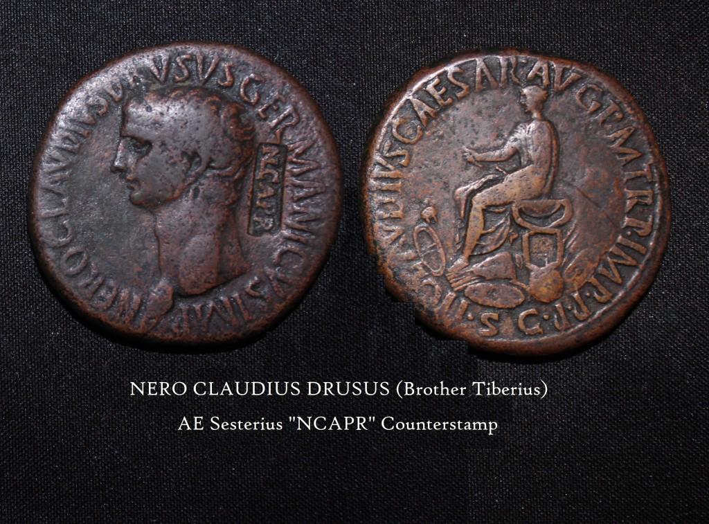 Nero Claudius Drusus AE Se3s NCAPR Counterstamp