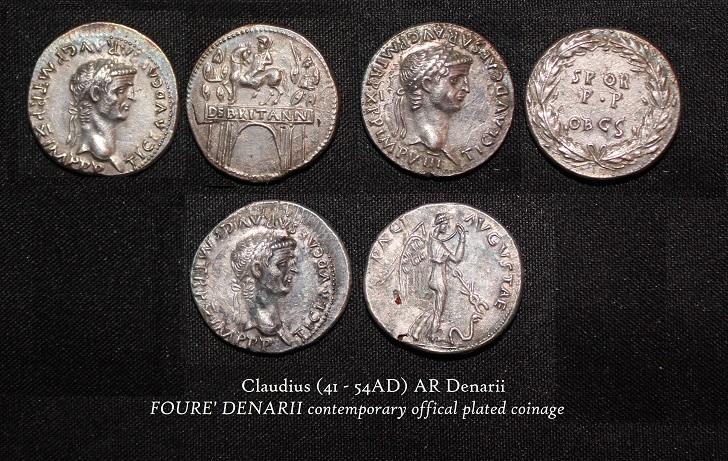 Claudius AR Denarii FOURREE' - R