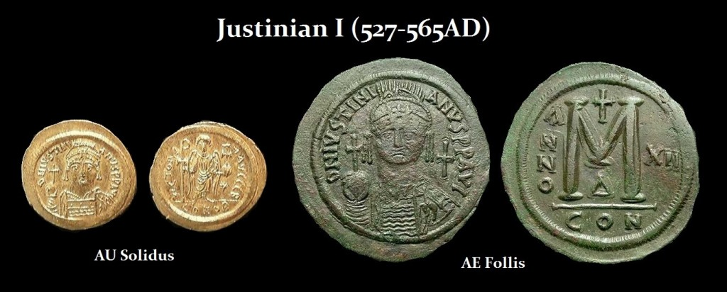 Justinian-I-solidus follis - r
