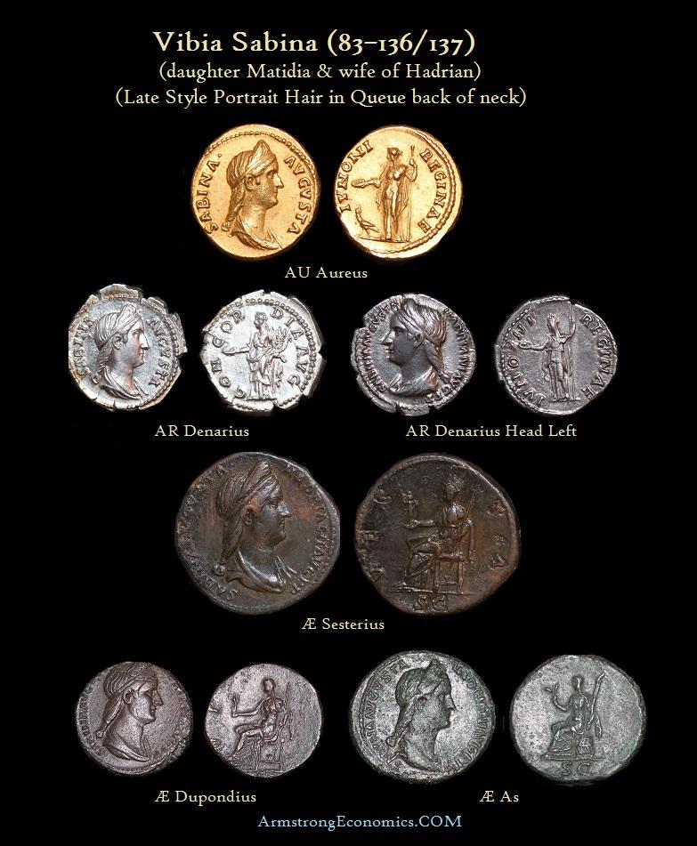 Sabina Que Aurea Denarius Sesterius Dupondius As