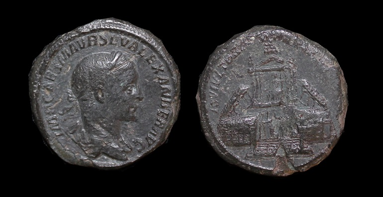 Severus Alexander AE Sesterius Temple of Jupiter - R