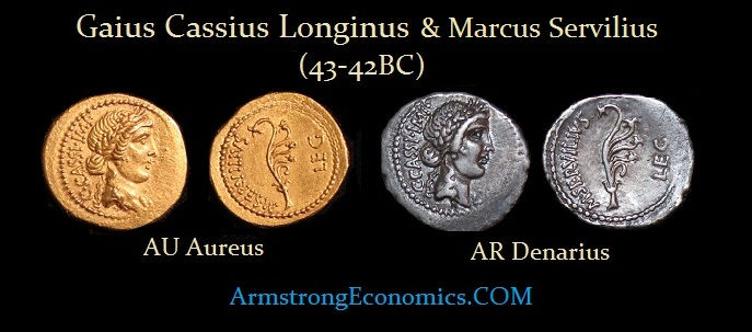 Cassius & SERVILIVS Aureus Denarius - R