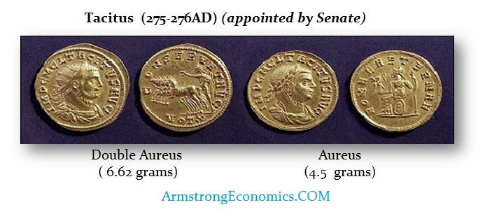 Tacitus (275-276AD) Double aureus & aureus