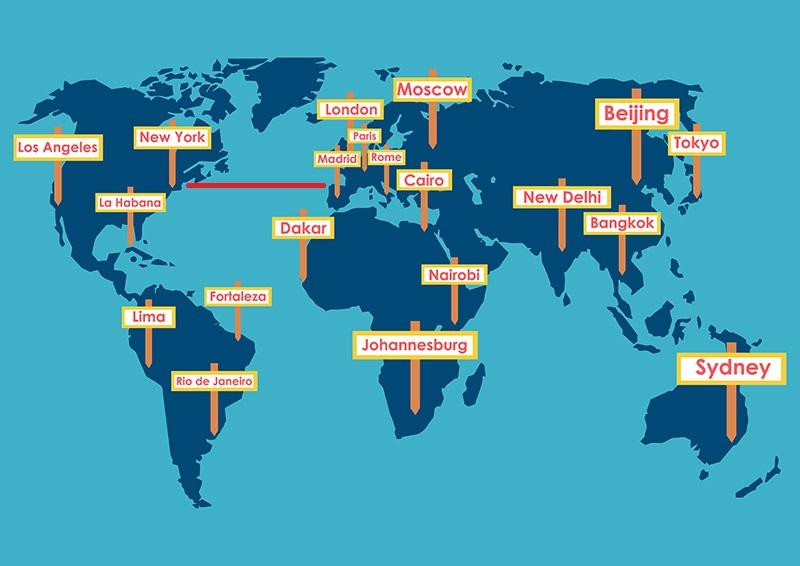 Map World Cities