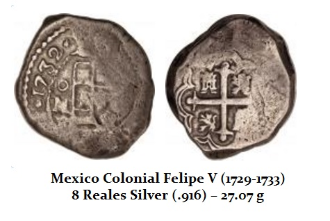 Mexico Colonial 8 Reales 1729-1733