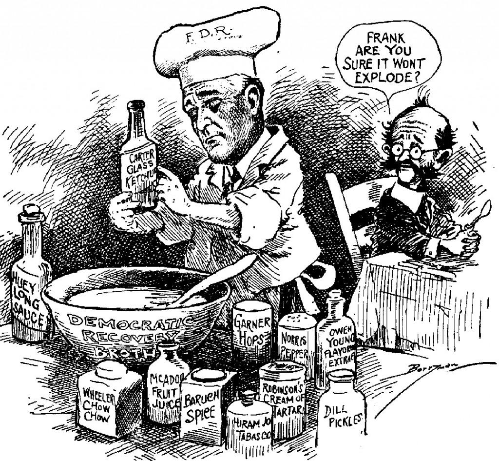 Roosevelt Baking Cartoon