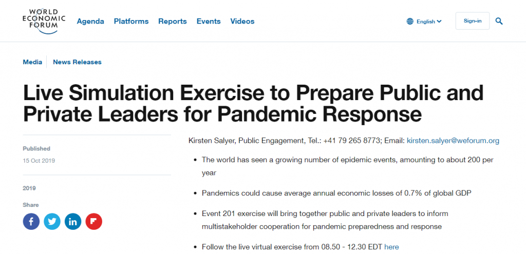 Live Stimulation Exercise to Prepare Public and Private Leaders for Pandemic Response